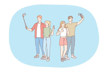 Selfie, smartphone, photograph vector illustration. Smiling young couples standing and making selfie on smartphone for sharing in social media. Lifestyle, photo, shot, sharing, stories, online, mobile