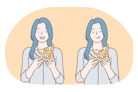 Unhealthy eating, fast and junk food, calories concept. Young happy girl cartoon character eating fast food slices of pizza at home or in cafe. Overweight, snack, harmful eating vector illustration