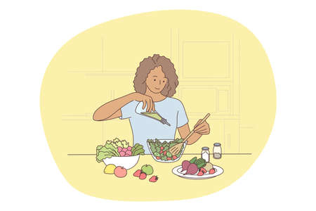 Healthy food, clean eating, nutrition concept. Young positive woman cartoon character cooking fresh healthy salad from ripe farm vegetables in kitchen. Wellness, bodycare, vegetarian lifestyle