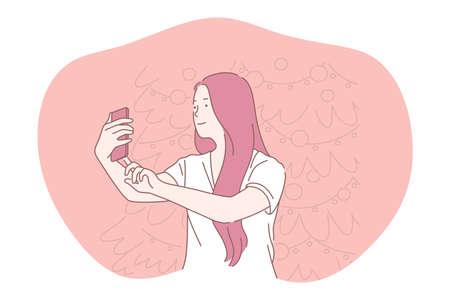Selfie, smartphone, photograph vector illustration. Smiling girl cartoon character making selfie on smartphone for sharing in social media. Lifestyle, photo, shot, sharing, stories, online, mobile Illusztráció