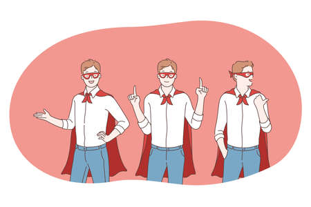 Superhero, superman, power concept. Young positive men cartoon characters in superman costume mantle and mask imagining power and leadership. Fantasy, imagination, justice, strength illustration