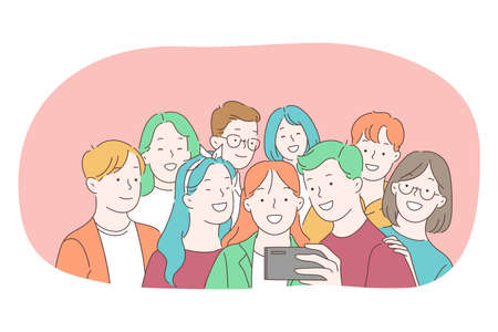 Selfie, smartphone, photograph vector illustration. Group of smiling happy friends making selfie on smartphone for sharing in social media. Lifestyle, photo, shot, sharing, stories, online, mobile