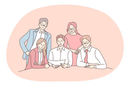 Teamwork, negotiations, business presentation concept. Group of positive business people office workers partners cartoon characters sitting in office with documents discussing startup together