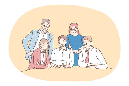 Teamwork, negotiations, business presentation concept. Group of positive business people office workers partners cartoon characters sitting in office with paper documents discussing startup together