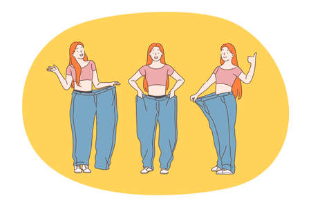Losing weight, slim, diet concept. Young positive woman cartoon character feeling happy and glad to feel too slim for clothes and see reducing in weight vector illustration