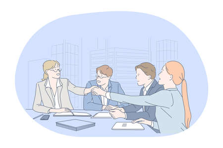 Teamwork, negotiations, success in office concept. Group of Business partners office workers handshaking after successful negotiations or brainstorming in office vector illustration