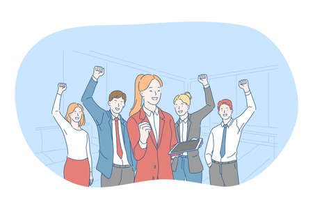 Success, agreement, business development concept. Happy young business people partners celebrating success in project with raised hands and feeling happy in office. Teamwork, leadership, strategy Ilustração Vetorial