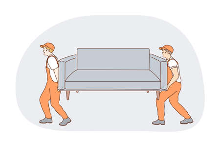 Part-time job, career, manual work concept. Young men professional loaders in orange working uniform carrying sofa to customers flat. Job specialist, working sphere illustration
