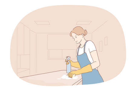 Housewife, cleaning, job career concept. Young woman professional cleaner in apron washing surfaces with special brush and making housework in apartment. Job, specialist, working sphere illustration
