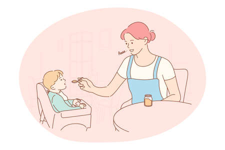 Motherhood, love of Mother, parenthood and childhood concept. Young positive woman mother cartoon character sitting feeding her small son with spoon at home vector illustration