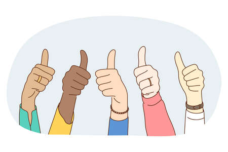 Thumbs up sign, Gesture hand language concept. Hands of mixed race people showing thumbs up luck positive sign with fingers. Teamwork, mutual support, unity, friendship illustration 矢量图像