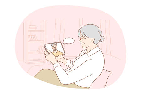 Online communication, chat, modern technologies concept. Senior elderly woman cartoon character sitting at home with tablet and communicating with son or husband online vector illustration