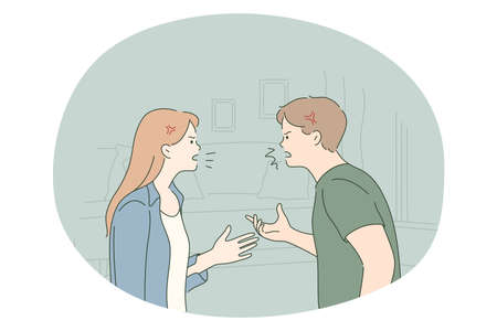 Scandal, quarrelling, fighting concept. Young angry couple standing and shouting at each other at home having problems with mutual understanding feeling aggressive illustration