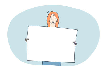 Demonstration, promotion, advertisement concept. Young positive woman cartoon characters holding white blank placard with copy space mockup for text and smiling vector illustration