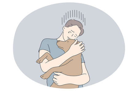 Adoption dogs from shelter, volunteering and helping pets concept. Young boy cartoon character holding brown adopted puppy on hands, hugging and embracing vector illustration