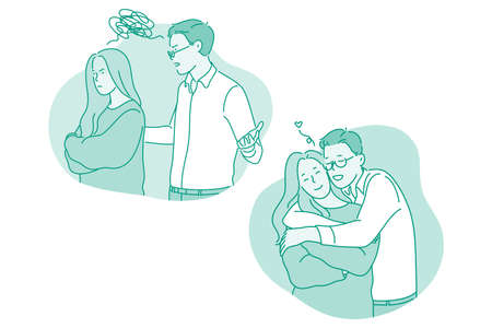 Misunderstanding, quarrelling, reconciliation concept. Young couple first quarrelling and having scandal and then reconciling and hugging each other with love vector illustration