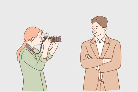 Paparazzi, success, fame concept. Young woman photographer cartoon character taking photo of successful smiling confident businessman with camera for magazine or interview illustration