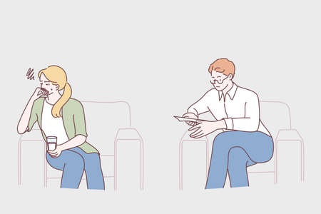 Mental help, psychology, misunderstanding concept. Serious man psychologist sitting and relying to calm crying unhappy depressed woman during consultation in clinic vector illustration
