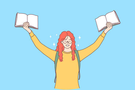Excellent pupil, student, studying concept. Portrait of red haired cheerful happy girl with books in raised hands enjoying learning and having fun over blue background vector illustration