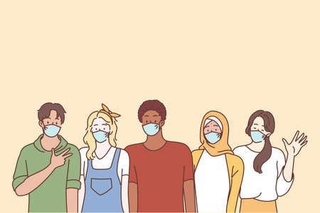 Coronavirus disease and multi ethnic youth friends concept. Group of young people teens students wearing face medical masks for preventing corona virus outbreak standing showing signs waving hands