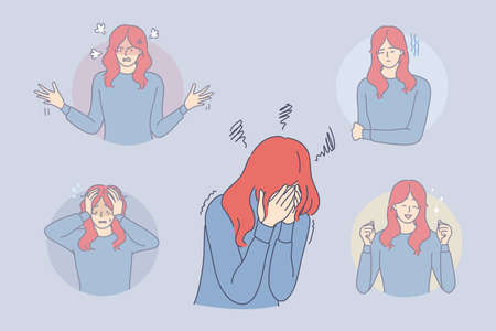 Bipolar disorder, phycological problem, schizophrenia concept. Young depressed woman cartoon character suffering from bipolar disorder with euphoria, psychosis, depression, tears, panic in one moment