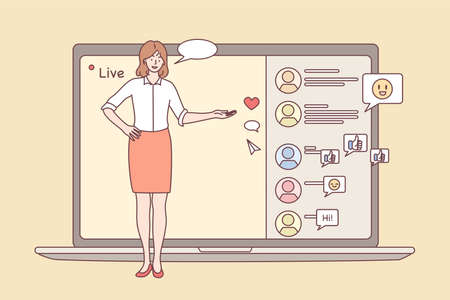Online meeting, Live streaming event, remote activity concept. Young positive female character reporter performing in front of laptop camera and screen and chatting online vector illustration