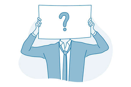 Frustration, doubt, question concept. Young businessman office worker cartoon character standing and holding big sign with question mark in hands expressing frustration trying to find solution