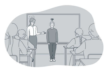 Studying in school, introducing, pupil and teacher concept. Teacher introducing new stressed frustrated boy pupil to classmates in classroom at school illustration