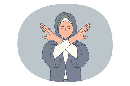 Stop, rejection, prohibition concept. Muslim angry woman in traditional clothing standing crossing hands and showing forbidding sign. Decline refuse deny illustration