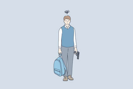 Crime, aggression, potential murderer concept. Young schoolboy cartoon character standing and holding backpack and gun with terrible thoughts on mind vector illustration