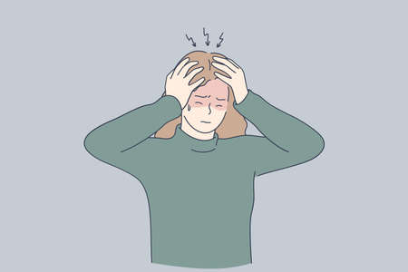 Stress, headache, depression concept. Unhappy depressed stressed young girl touching head with fingers, feeling headache, stress and exhaustion. Pain and grief illustration