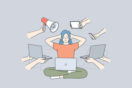 Multitasking, stress, business efficiency concept. Young frustrated stressed woman sitting with laptop covering ears with hands workaholic feeling too tired of many tasks for work