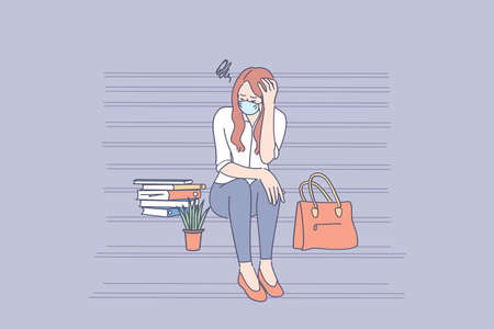 Unemployed people during outbreak concept. Young sad unhappy unemployed businesswoman in face mask sitting on stairs feeling stressed after failure and laid off from work during pandemic
