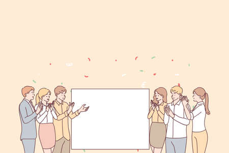 Promotion, demonstration and admiration concept. Group of young smiling positive people office workers standing applauding and looking at white blank mockup for text ad copy space vector illustration Vektorgrafik