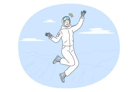 Winter activities, skiing, snowboarding concept. Young happy smiling woman cartoon character in white winter costume jumping feeling cheerful after riding downhill on ski or snowboard in mountaints