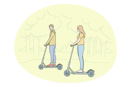 Healthy active lifestyle, sport, leisure hobby concept. Young happy couple enjoying riding scooters together in park on summer illustration. Family activity, entertainment, fitness, fun