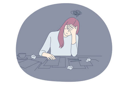 Stress, overwork, exhaustion, overload concept. Unhappy depressed young office worker woman sitting with heap of documents and much work and feeling stressed and tired in office vector illustration