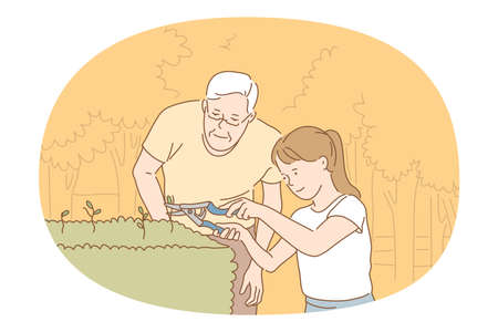 Houseplants and gardening concept. Young smiling girl and grandfather cutting green plant sprouts with special scissors for better growing and taking care of small garden