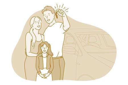 New car, purchase, happiness concept. Happy family with daughter standing all together and holding keys from new car vehicle in hand feeling excited and cheerful vector illustration