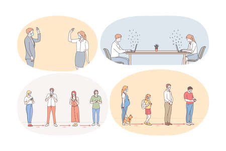 Social Distance, working and living during pandemic concept. People workers, business partners, customers and people in line keeping social distance during Pandemic of Covid 19 infection Vektorové ilustrace
