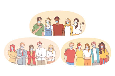 Teamwork, unity, protective masks during pandemic concept. People business partners or students friends in medical face masks standing and holding hands as symbol of uniting efforts