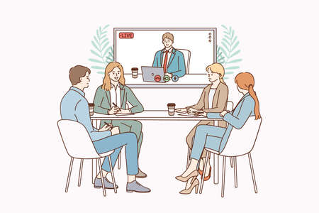 Video conference and teamwork concept. Positive people colleagues teammates sitting in office and having online conference remote meeting with partner vector illustration