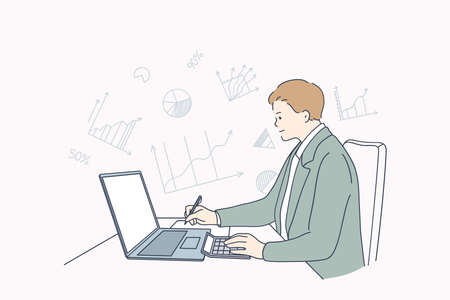 Finance and tax counting system concept. Young accounting businessmen cartoon character sitting and calculating incomes expenditure analyzing investment data statistics vector illustration