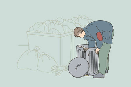Homelessness and poverty concept. Homeless unemployed man in torn shabby clothes cartoon character searching for food in trash can on streets outdoors vector illustration