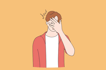 Shock, surprise, embarrassed emotion concept. Young man cartoon character wearing casual clothing peeking in shock covering face and eyes with hand, looking through fingers vector illustration