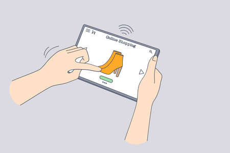 Online shopping, purchase in internet lockdown concept. Human hand choosing boots online on tablet during online shopping at coronavirus pandemic times vector illustration
