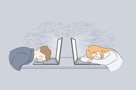 Stress, tiredness, burnout concept. Overworked exhausted office workers lying on laptops feeling tired and burnt out in office at work vector illustration Ilustração