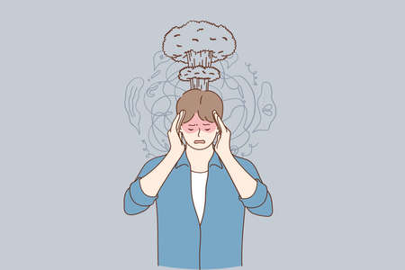 Migraine, stress, headache concept. Frustrated stressed man suffering from headache holding hands on head temples having anxiety problems, dementia disease vector illustration