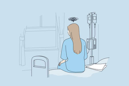 Disease, illness, hospital concept. Back view of lonely young woman sitting on bed in hospital feeling depressed with body check result paper besides in clinic vector illustration