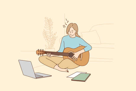 Hobby, leisure activities during quarantine concept. Young teen smiling girl sitting at home and learning playing guitar during online training Ilustração